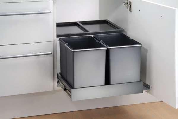 Wesco Double Shorty Plus Abfallsystem Drehtür Vollauszug / 2x 15 Liter / 50  Cm