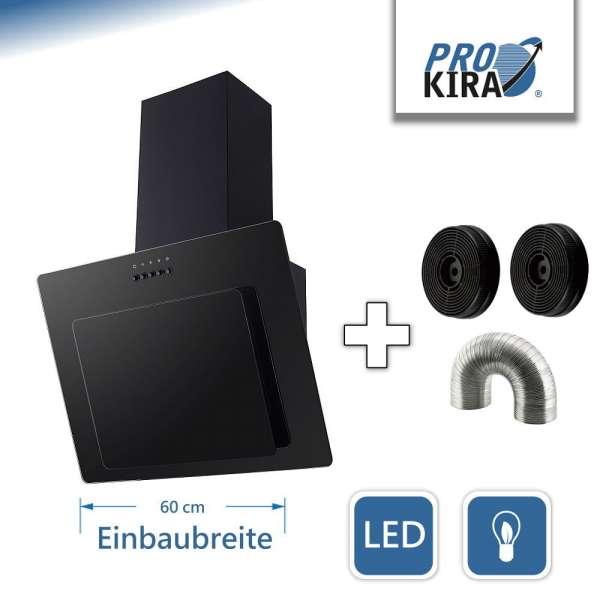 PROKIRA® DH60GB-02 Kopffreihaube Wandhaube Schräghaube Dunstabzugshaube Abluft Umluft Haube Schwarz LED Glas 60cm