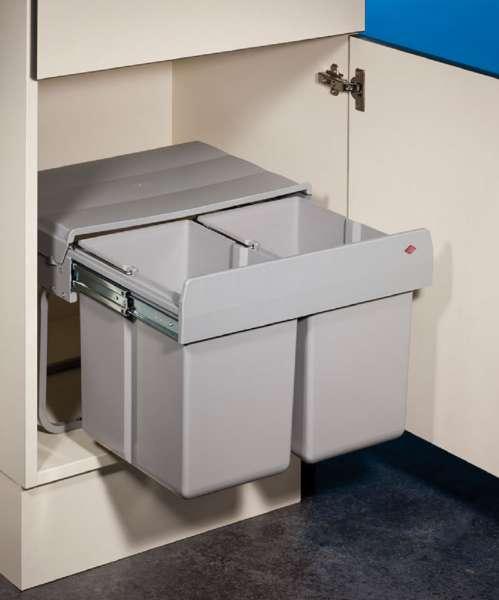 Wesco Double Shorty 1 Abfallsystem Drehtür Vollauszug / 2x 15 Liter / 50  Cm/ 8011058 /